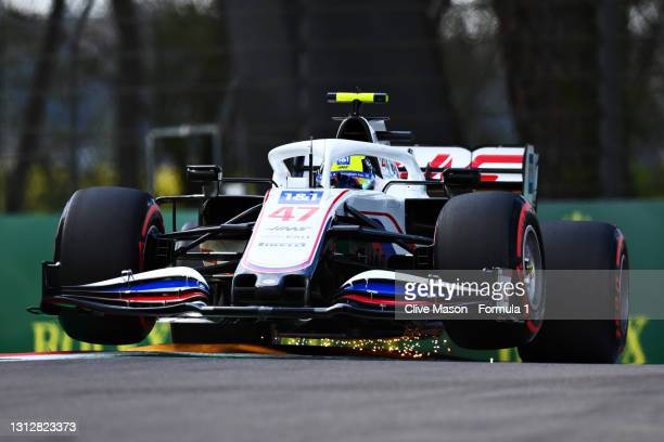 Mick Schumacher of Germany driving the Haas F1 Team VF-21 Ferrari launches off a raised kerbs during practice ahead of the F1 Grand Prix of Emilia...