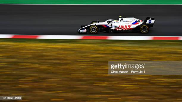 Mick Schumacher of Germany driving the Haas F1 Team VF-21 Ferrari during final practice for the F1 Grand Prix of Portugal at Autodromo Internacional...