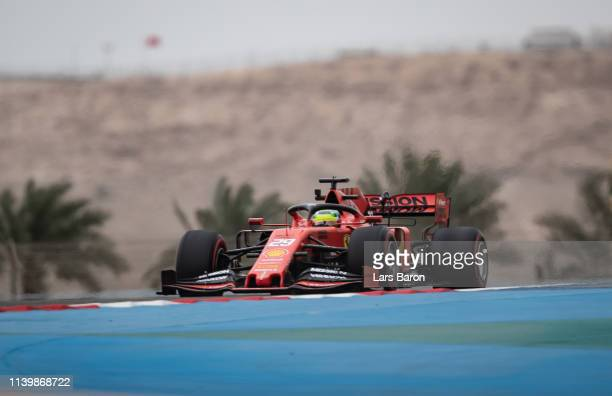 Mick Schumacher of Germany driving the Scuderia Ferrari SF90 during F1 testing in Bahrain at Bahrain International Circuit on April 02 2019 in...