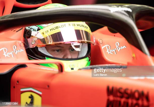 Mick Schumacher of Germany is seen in the Scuderia Ferrari SF90 during F1 testing in Bahrain at Bahrain International Circuit on April 02 2019 in...