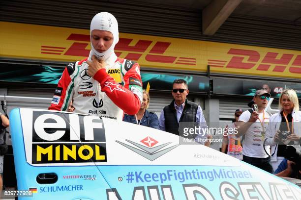 Mick Schumacher of Germany prepares to drive his father Michael Schumacher's Benetton Ford B194 before the Formula One Grand Prix of Belgium at...