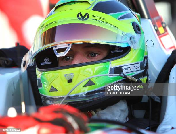 Mick Schumacher prepares for the race of the FIA Formula Three European Championship at the Hockenheim race track in Hockenheim western Germany on...