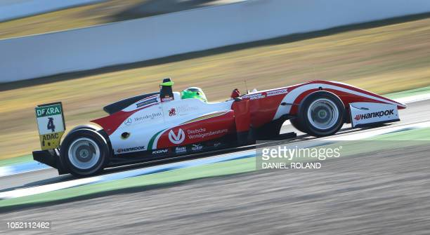 TOPSHOT Mick Schumacher races during the FIA Formula Three European Championship at the Hockenheim race track in Hockenheim western Germany on...