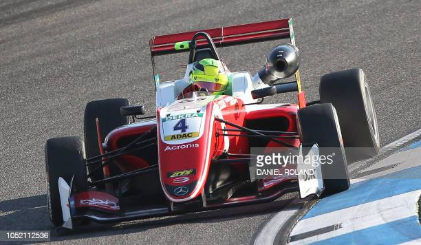 Mick Schumacher races during the FIA Formula Three European Championship at the Hockenheim race track in Hockenheim western Germany on October 14...
