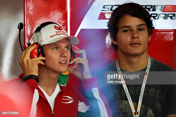 Mick Schumacher son of Michael in the Scuderia Ferrari garage during final practice for the Formula One Grand Prix of Germany at Hockenheimring on...