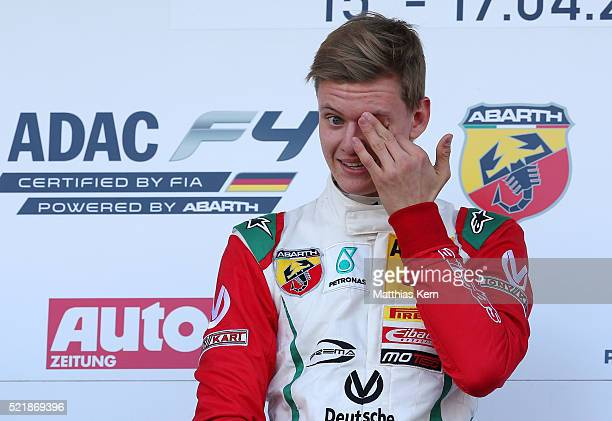 Mick Schumacher son of the former F1 champion Michael Schumacher shows his delight after winning the 3rd race during day 3 of the ADAC Formula Four...