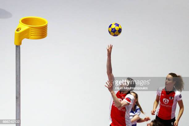 Mick Snel of Top/Quoration scores during the Dutch Korfball League Final between BlauwWit and TOP/Quoratio held at the Ziggo Dome on April 8 2017 in...