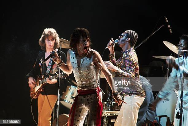 Mick Taylor and Mick Jagger of the Rolling Stones perform with Stevie Wonder at Madison Square Garden The concert was the final performance of the...