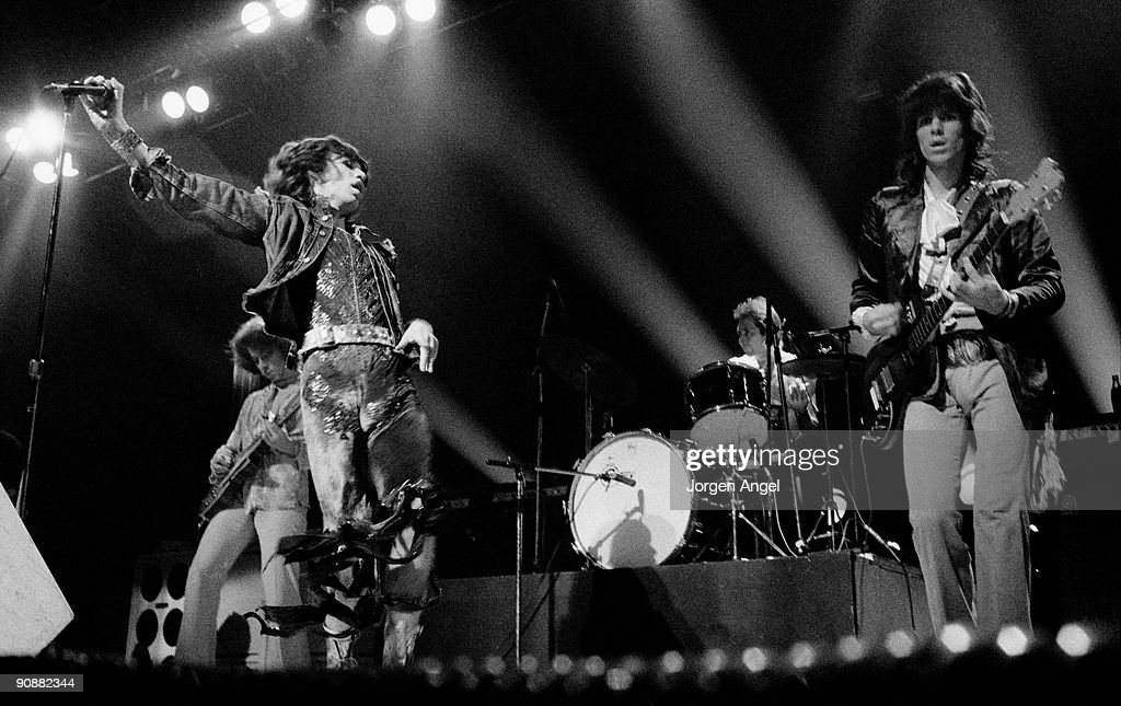 Mick Taylor, Mick Jagger, Charlie Watts and Keith Richards of The Rolling Stones perform on stage in October 7th 1973 in Copenhagen, Denmark.