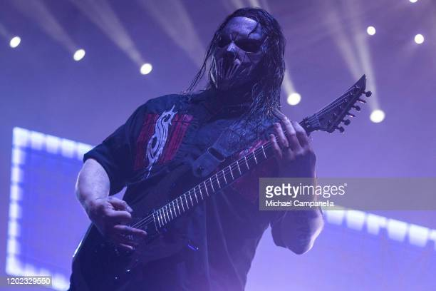 Mick Thomson of Slipknot performs in concert at the Ericsson Globe Arena on February 21 2020 in Stockholm Sweden