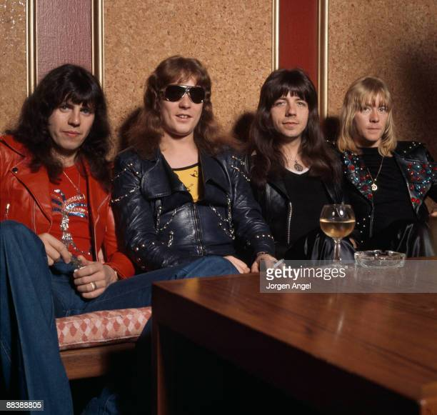 Mick Tucker Steve Priest Andy Scott and Brian Connolly of The Sweet pose for a group shot at the Plaza Hotel in October 1974 in Copenhagen Denmark