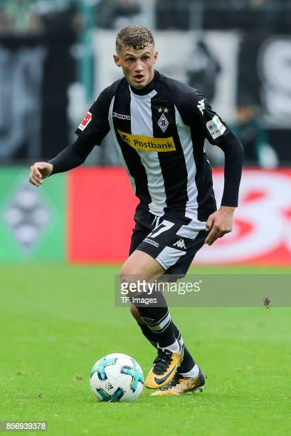 Mickaael Cuisance of Moenchengladbach controls the ball during the Bundesliga match between Borussia Moenchengladbach and Hannover 96 at BorussiaPark...