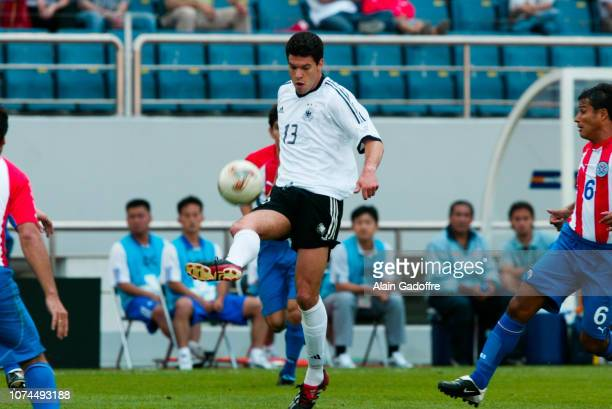 Mickael BALLACK and Estanislao STRUWAY during the FIFA World Cup match between Germany and Paraguay on June 15, 2002 in Jeju Stadium, South Korea.