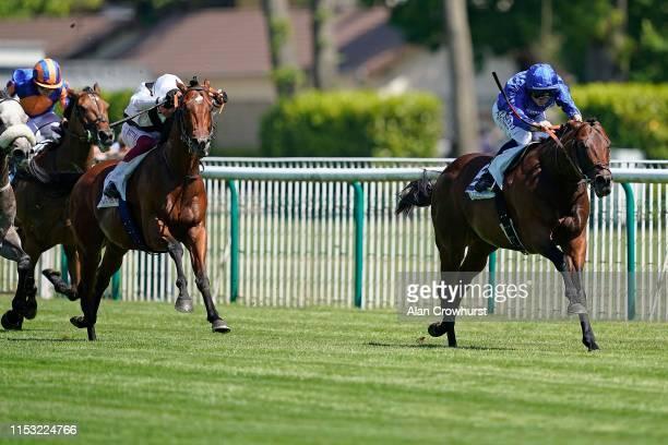 Mickael Barzalona riding Inns Of Court win The Prix Du GrosChene during The Qipco Prix du Jockey Club meeting at Hippodrome de Chantilly on June 02...