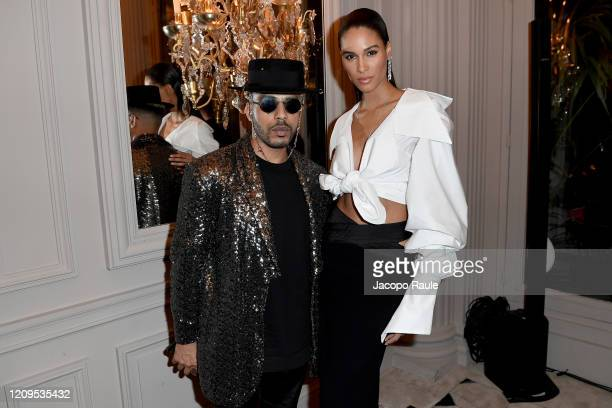 Mickael Carpin and Cindy Bruna attend the Monot show as part of the Paris Fashion Week Womenswear Fall/Winter 2020/2021 on February 29 2020 in Paris...