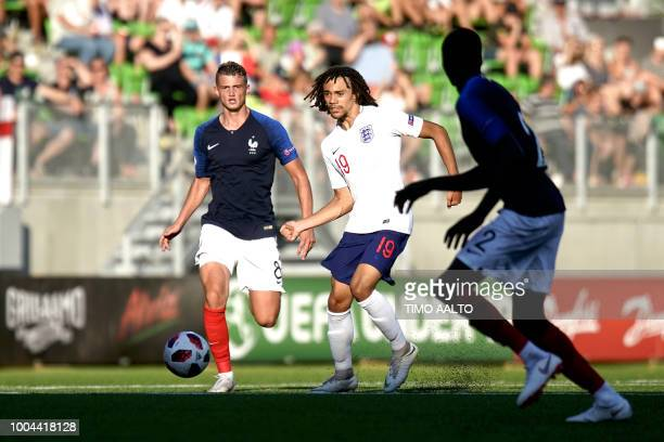 Mickael Cuisance and Dembele Mahamadou of France vie with Nya Kirby of England during the football 2018 UEFA European Under19 Championship Group...