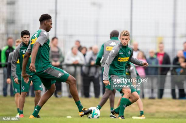 Mickael Cuisance and Reece Oxford during a training session of Borussia Moenchengladbach at BorussiaPark on July 02 2017 in Moenchengladbach Germany
