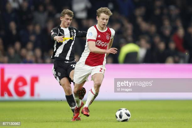 Mickael Cuisance of Borussia Monchengladbach Frenkie de Jong of Ajax during the international friendly match between Ajax Amsterdam and Borussia...