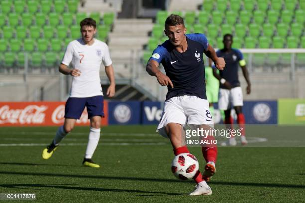 Mickael Cuisance of France shoots during the football 2018 UEFA European Under19 Championship Group stage match England vs France in Vaasa on July 23...