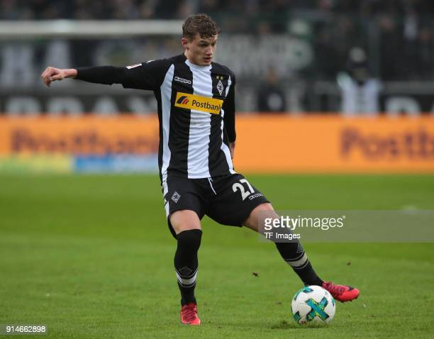 Mickael Cuisance of Moenchengladbach controls the ball during the Bundesliga match between Borussia Moenchengladbach and FC Augsburg at BorussiaPark...