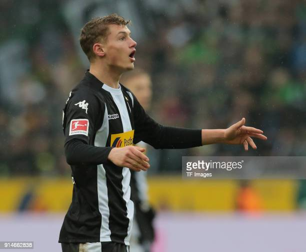 Mickael Cuisance of Moenchengladbach gestures during the Bundesliga match between Borussia Moenchengladbach and FC Augsburg at BorussiaPark on...
