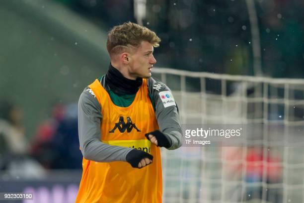 Mickael Cuisance of Moenchengladbach looks on during the Bundesliga match between Borussia Moenchengladbach and SV Werder Bremen at BorussiaPark on...
