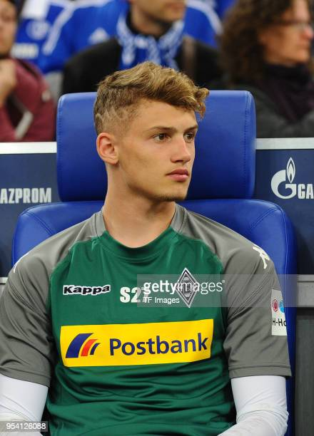 Mickael Cuisance of Moenchengladbach looks on prior to the Bundesliga match between FC Schalke 04 and Borussia Moenchengladbach at VeltinsArena on...