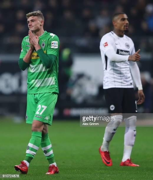 Mickael Cuisance of Moenchengladbach reacts during the Bundesliga match between Eintracht Frankfurt and Borussia Moenchengladbach at CommerzbankArena...