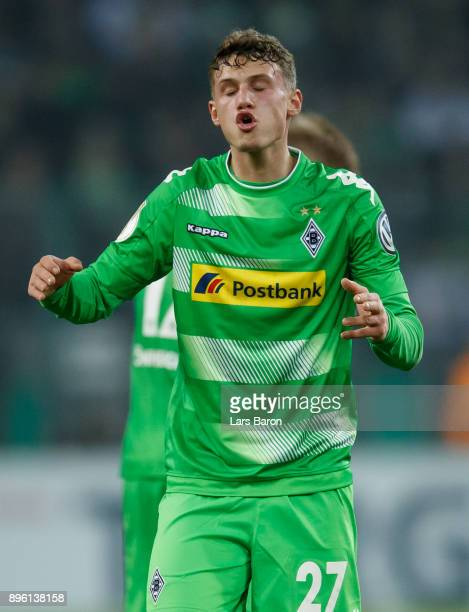 Mickael Cuisance of Moenchengladbach reacts during the DFB Cup match between Borussia Moenchengladbach and Bayer Leverkusen at BorussiaPark on...