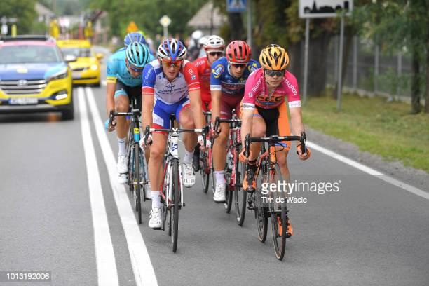 Mickael Delage of France and Team Groupama Fdj / Jenthe Biermans of Belgium and Team Katusha Alpecin Blue Most Aggressive Rider Jersey / Jan Tratnik...