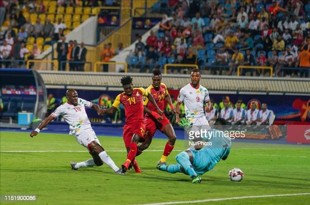 Mickael Franck Pote of Benin scoring to 1-0 during the 2019 African Cup of Nations match between Ghana and Benin at the Ismailia stadium in Ismailia,...