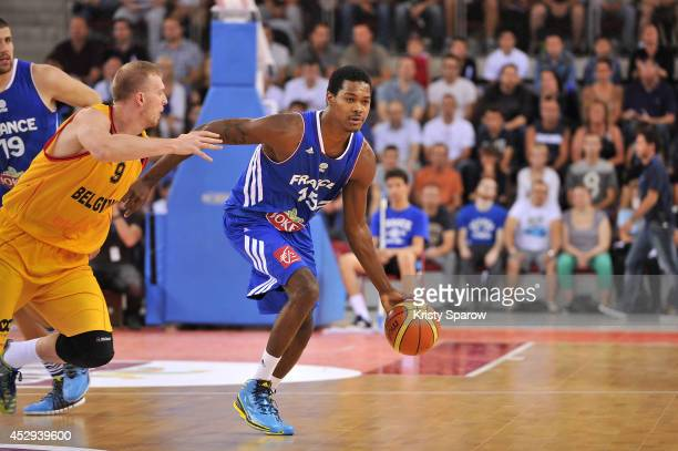 Mickael Gelabale in action during the International Basketball practice game between France and Belgium on July 30 2014 in Rouen France