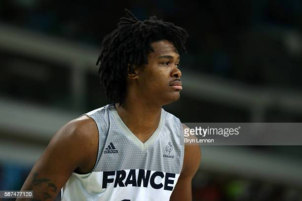Mickael Gelabale of France plays agaisnt China in the men's preliminary round group A game 19 on Day 3 of the Rio 2016 Olympic Games at the Carioca...
