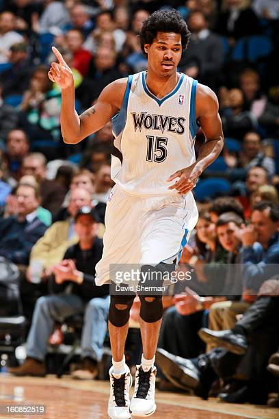 Mickael Gelabale of the Minnesota Timberwolves celebrates while playing the San Antonio Spurs on February 6 2013 at Target Center in Minneapolis...