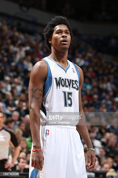 Mickael Gelabale of the Minnesota Timberwolves looks to a teammate against the Houston Rockets during the game on January 19 2013 at Target Center in...