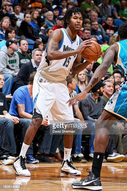 Mickael Gelabale of the Minnesota Timberwolves looks to pass the ball against the New Orleans Hornets on March 17 2013 at Target Center in...