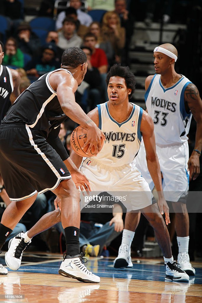 Mickael Gelabale #15 of the Minnesota Timberwolves plays defense against Joe Johnson #7 of the Brooklyn Nets on January 23, 2013 at Target Center in Minneapolis, Minnesota.