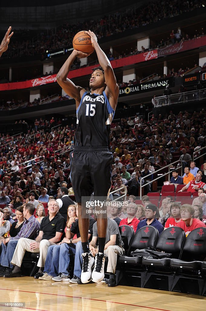 Mickael Gelabale #15 of the Minnesota Timberwolves shoots a three pointer against the Houston Rockets on March 15, 2013 at the Toyota Center in Houston, Texas.