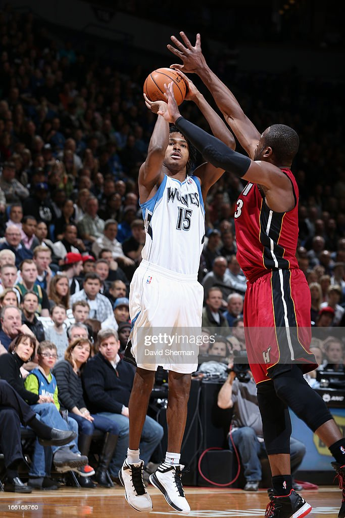 Mickael Gelabale #15 of the Minnesota Timberwolves takes a shot against the Miami Heat on March 4, 2013 at Target Center in Minneapolis, Minnesota.