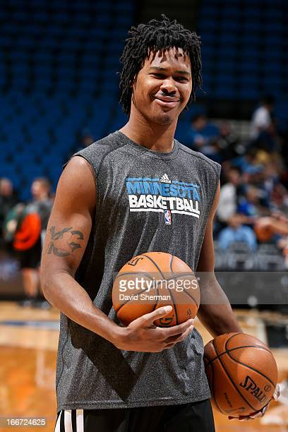 Mickael Gelabale of the Minnesota Timberwolves warms up before playing against the Utah Jazz on April 15 2013 at Target Center in Minneapolis...