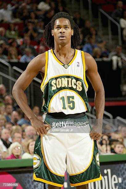 Mickael Gelabale of the Seattle SuperSonics stands on the court during the game against the Portland Trail Blazers on November 1 2006 at Key Arena in...