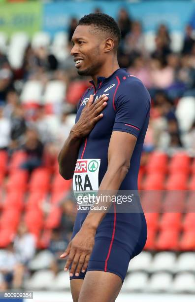Mickael Hanany of France celebrates winning in High Jump during day 2 of the 2017 European Athletics Team Championships at Stadium Lille Metropole on...