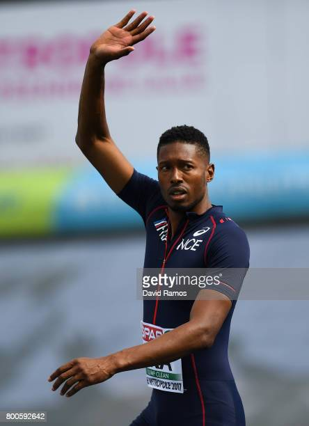 Mickael Hanany of France waves after competing the Men's High Jump Final during day two of the European Athletics Team Championships at the Lille...
