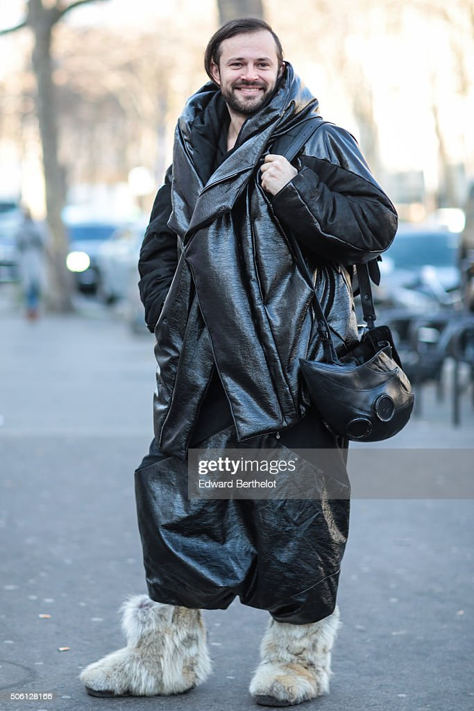 Mickael Lazor wearing a Julius coat after the Rick Owens show during Paris Fashion Week Menswear Fall Winter 2016/2017 on January 21, 2016 in Paris, France.