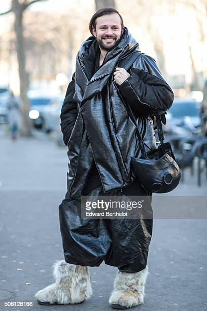 Mickael Lazor wearing a Julius coat after the Rick Owens show during Paris Fashion Week Menswear Fall Winter 2016/2017 on January 21 2016 in Paris...
