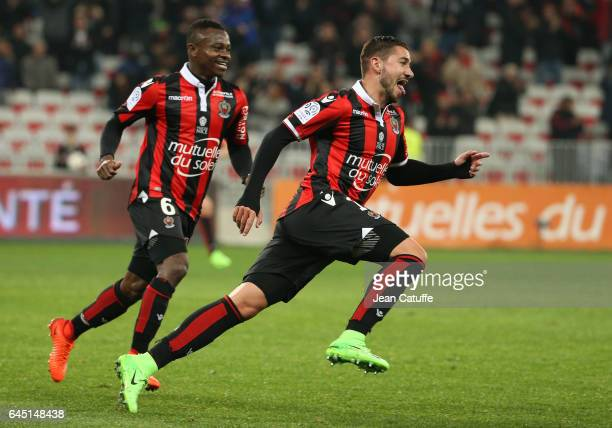 Mickael Le Bihan of Nice celebrates his first goal with Jean Seri during the French Ligue 1 match between OGC Nice and Monptellier Herault SC at...
