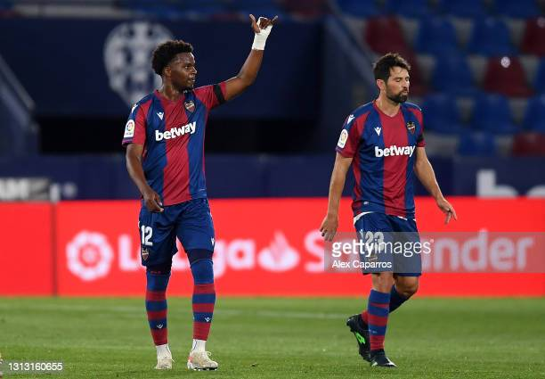 Mickael Malsa of Levante UD celebrates after scoring their team's first goal during the La Liga Santander match between Levante UD and Villarreal CF...