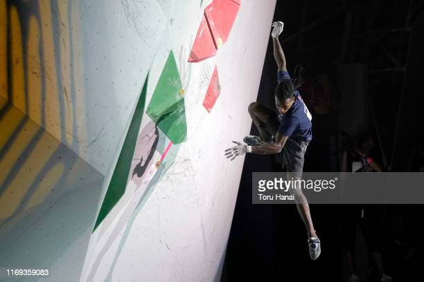 Mickael Mawem of France competes in the Bouldering during Combined Men's Final on day eleven of the IFSC Climbing World Championships at the Esforta...
