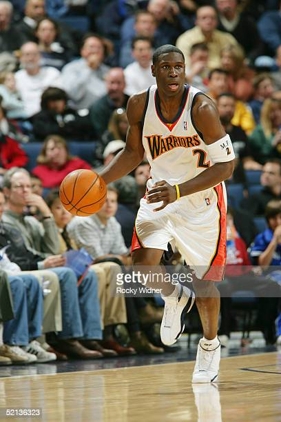 Mickael Pietrus of the Golden State Warriors brings the ball up court against the New Orleans Hornets at the Arena in Oakland California NOTE TO USER...