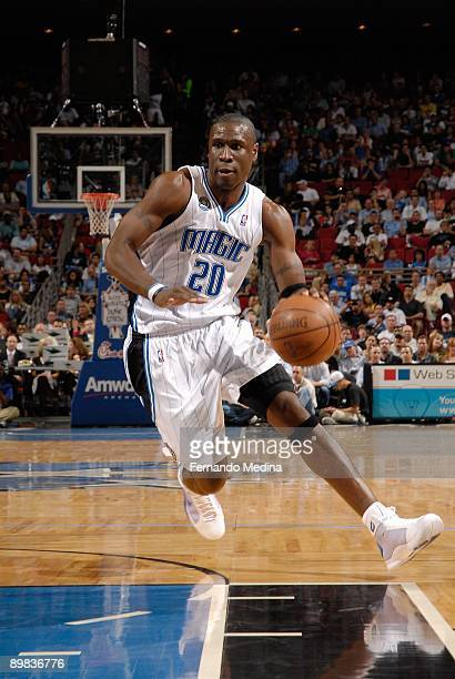Mickael Pietrus of the Orlando Magic drives to the basket against the Toronto Raptors during the game on April 1 2009 at Amway Arena in Orlando...